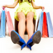 Legs of shopper — Stock Photo