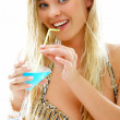 Blonde with cocktail — Stock Photo