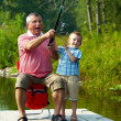 Stock Photo: Throwing fishing tackle