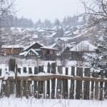 Winter in dorp — Stockfoto