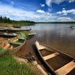 Boats by lake - Stock Photo