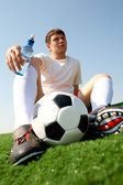 Resting footballer — Stock Photo