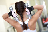 Exercise with barbells — Stockfoto