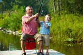 Throwing fishing tackle — Stock Photo