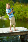 Kid fishing — Stock Photo