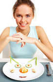 Girl on diet — Stock Photo