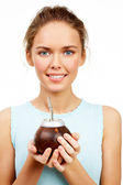 Girl with calabash — Stock Photo