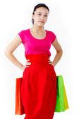 Nakupující v červené barvě — Stock fotografie