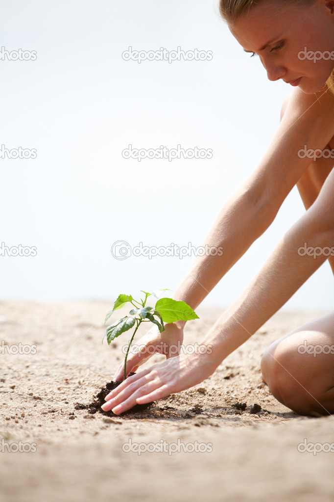 Image of young female taking care of green sprout outside  Stock Photo #11583631