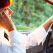 Calling in car — Stock Photo