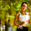 Cheerful sportswoman — Stock Photo