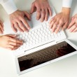 Hands on laptop — Stock Photo