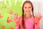 Chica de guantes — Foto de Stock