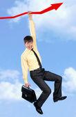 Empresário na seta — Fotografia Stock