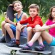 Skating children — Stock Photo