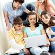 Teens with laptop — Stock Photo