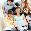 Teens with laptop — Foto Stock