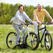 Stock Photo: Cycling couple