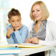 Teacher and kid — Stock Photo