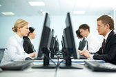 Rows of office workers — Stock Photo