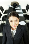 Woman in conference hall — Stock Photo