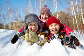 Kids in snow — Stock Photo