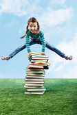 Leaping through stack — Stock Photo