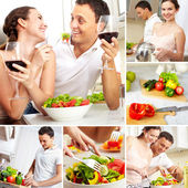 Couple in kitchen — Stock Photo