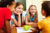 Classmates chatting — Stock Photo