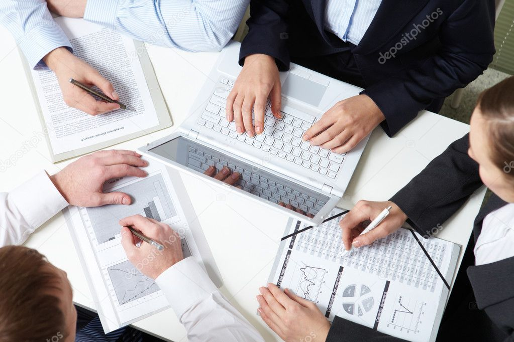 Place of work of four business — Stock Photo #11630397