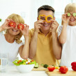 Family of vegetarians — Stock Photo