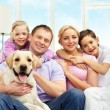Family with dog — Stock Photo
