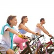 Stock Photo: Cycling family