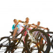 Three on bikes — Stock Photo