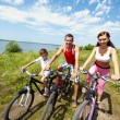 Family of bicyclists — Stock Photo