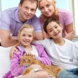Family with pet — Stock Photo