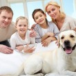 Family and their pet — Stock Photo