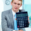Accountant with calculator — Stock Photo