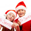 "Happy children holding letters with note ""To Santa"" — Stock Photo"