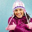Smiling girl in winter - Stock Photo