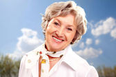 Grey-haired woman — Stock Photo
