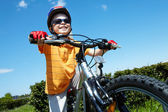Little bicyclist — Stock Photo