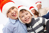 Laughing Santas — Stock Photo