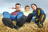 Family in the village — Stock Photo