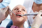 Examining oral cavity — Stock Photo