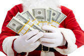 Photo of happy Santa Claus with dollar bills — Stock Photo