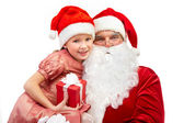 Senior and little Santas — Stock Photo