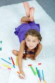 Child drawing — Stock Photo