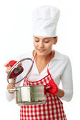 Woman with pan — Stock Photo