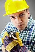 Man with drill — Fotografia Stock